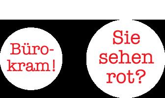 "bürowehr – Illustration ""Bürokram! Sie sehen rot?"""